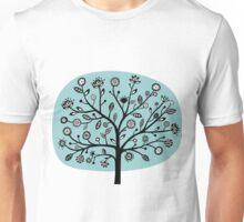 Stylized Flower Tree - Light Blue Green Unisex T-Shirt