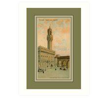 Watercolour aquarelle Firenze Florence Palazzo Vecchio Art Print