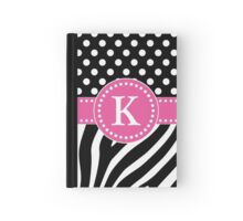 Black and White Zebra Stripes and Polka Dots K Monogram Hardcover Journal