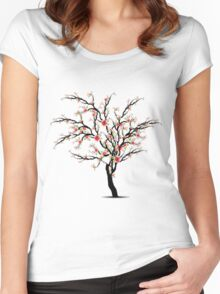 Cherry Blossoms Tree Women's Fitted Scoop T-Shirt