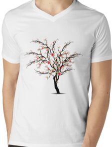 Cherry Blossoms Tree Mens V-Neck T-Shirt
