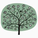 Stylized Flower Tree - Faded Green by Artberry