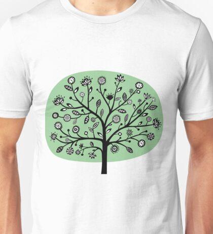 Stylized Flower Tree - Faded Green Unisex T-Shirt