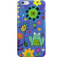 Ducks and Frogs in the Garden - Blue iPhone Case/Skin
