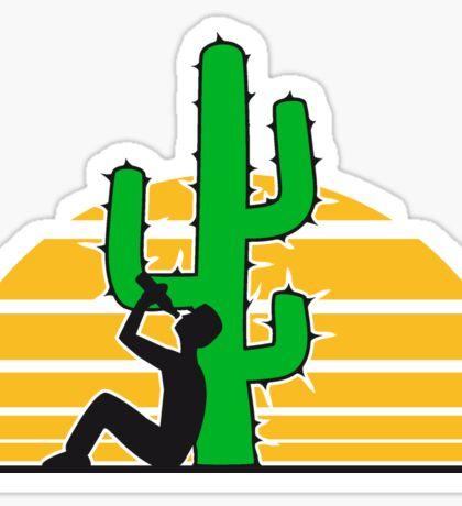 drinking beer drinking drink alcohol drunk party goad desert sun sunset sunrise big cactus desert Sticker