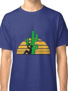drinking beer drinking drink alcohol drunk party goad desert sun sunset sunrise big cactus desert Classic T-Shirt