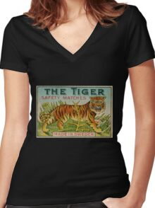 The Tiger Safety Matches Women's Fitted V-Neck T-Shirt