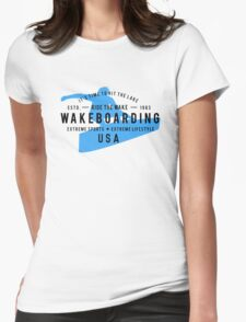 Ride The Wake Wakeboarding Womens Fitted T-Shirt