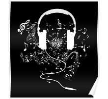 Headphones and music notes white Poster