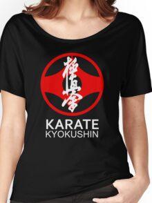 Kyokushin Karate Symbol and Kanji White Text Women's Relaxed Fit T-Shirt