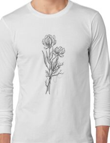 Flowers Lineart Tattoo Style // Black and White Long Sleeve T-Shirt