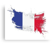 France Flag Brush Splatter Canvas Print