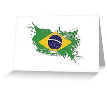 Brazil Flag Brush Splatter Greeting Card