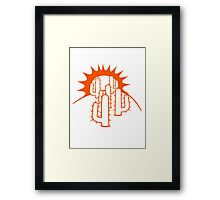 mountain hill dune sun sunset sunrise sand many kakten pattern small cactus, desert soil Framed Print