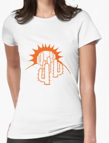 mountain hill dune sun sunset sunrise sand many kakten pattern small cactus, desert soil Womens Fitted T-Shirt