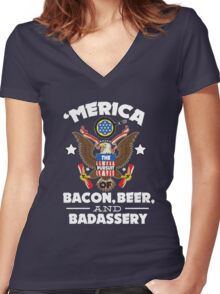 Merica The Pursuit of Bacon, Beer, & Badassery. Women's Fitted V-Neck T-Shirt