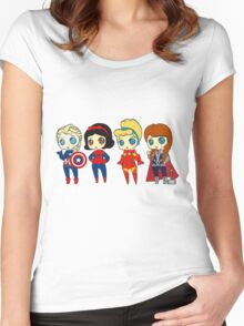 SUPERHERO PRINCESSES Women's Fitted Scoop T-Shirt