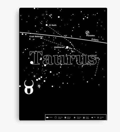 Taurus Star Chart Canvas Print
