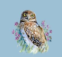 Owl in lavender  Womens Fitted T-Shirt