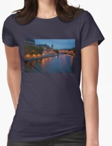 Impressions of Paris - Seine River at Night Womens Fitted T-Shirt