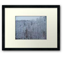 A snowy spring scene. Framed Print