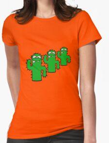 3 funny kakten team buddies pattern face comic cartoon cactus natural sweet cute small Womens Fitted T-Shirt