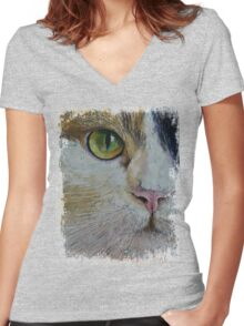 Calico Cat Women's Fitted V-Neck T-Shirt