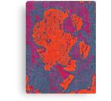 Map Composition. Red And Blue Neon Pattern Canvas Print