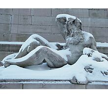 Statue After A Snow, Columbus Circle, New York City   Photographic Print