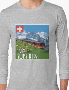 Vintage Travel Poster Swiss Alps Long Sleeve T-Shirt