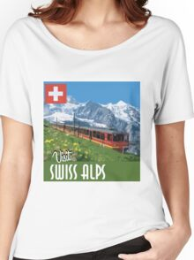 Vintage Travel Poster Swiss Alps Women's Relaxed Fit T-Shirt