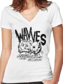 I liked Wavves Before they were cool  Women's Fitted V-Neck T-Shirt