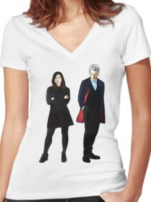 The Doctor and Clara Women's Fitted V-Neck T-Shirt