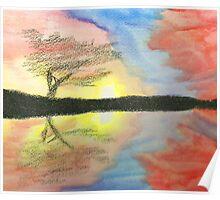 Sunset- Tree Poster