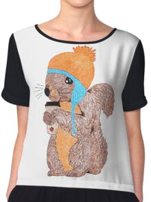 The Rare Toque-Wearing Coffee-Drinking Canadian Squirrel Chiffon Top