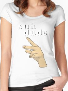 Suh Dude meme   White Letters Women's Fitted Scoop T-Shirt