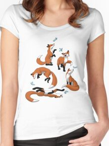 Foxes and Butterflies Women's Fitted Scoop T-Shirt