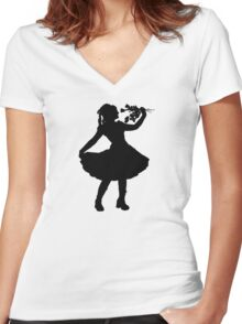 Oh Honey, You KNEW!! (Black Silhouette 1) Women's Fitted V-Neck T-Shirt