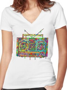 Boom Box Women's Fitted V-Neck T-Shirt