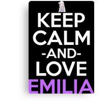 Keep Calm And Love Emilia Anime Shirt Canvas Print