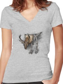 D-Rex Shirt (Light Background) Women's Fitted V-Neck T-Shirt