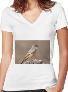 Say's Phoebe on a Fence Post Women's Fitted V-Neck T-Shirt