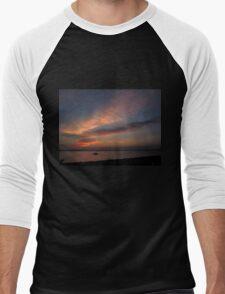 Watercolor Sunset Men's Baseball ¾ T-Shirt