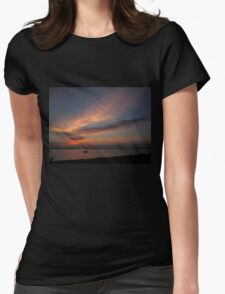 Watercolor Sunset Womens Fitted T-Shirt