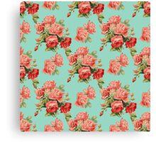 Vintage Rose Flower Pattern Canvas Print