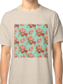 Vintage Rose Flower Pattern Classic T-Shirt