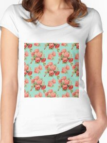Vintage Rose Flower Pattern Women's Fitted Scoop T-Shirt