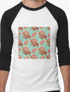Vintage Rose Flower Pattern Men's Baseball ¾ T-Shirt
