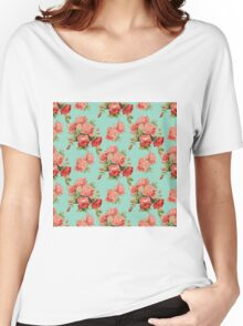 Vintage Rose Flower Pattern Women's Relaxed Fit T-Shirt