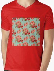 Vintage Rose Flower Pattern Mens V-Neck T-Shirt